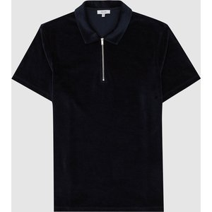 Reiss Dalston - Towelling Zip Neck Polo Shirt In Navy, Mens, Size S Navy Blue Reiss41607330001, Navy Blue