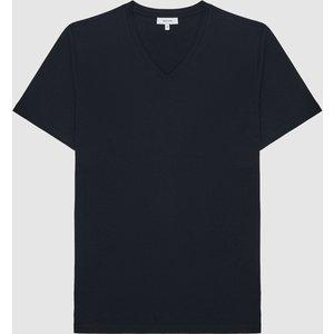 Reiss Dayton - Regular Fit V-neck T-shirt In Navy, Mens, Size L Reiss42901530003, Navy