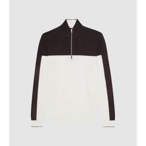 Reiss Dickens - Colour Block Zip Neck Jumper In Chocolate, Mens, Size M Reiss51810915002, Chocolate