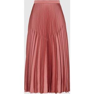 Reiss Dora - Pleated Midi Skirt In Blush, Womens, Size 12 Pink Reiss28711367012, Pink