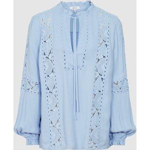 Reiss Dottie - Lace Detail Blouse In Blue, Womens, Size 18 Reiss46816245018, Blue