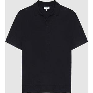 Reiss Duchie - Merino Wool Open Collar Polo Shirt In Navy, Mens, Size Xl Reiss51915730004, Navy
