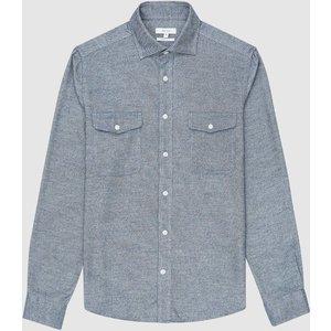 Reiss Duke - Twin Pocket Overshirt In Indigo Melange, Mens, Size M Blue Reiss32703145002, Blue