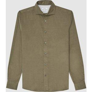 Reiss Dundee - Corduroy Shirt In Khaki, Mens, Size Xl Green Reiss32707751004, Green