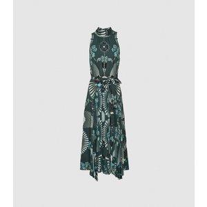Reiss Eddie - Printed Midi Dress In Green, Womens, Size 18 Green And Blue Reiss29820950018, Green and Blue