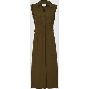 Reiss Effie - Utility Shirt Midi Dress In Khaki, Womens, Size 4 Green Reiss29629751004, Green