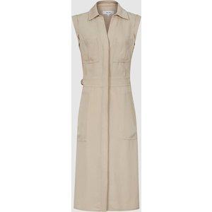 Reiss Effie - Utility Shirt Midi Dress In Stone, Womens, Size 16 Brown Reiss29629704016, Brown