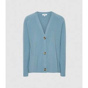 Reiss Elaina - Wool Cashmere Blend Cardigan In Mid Blue, Womens, Size M Reiss55816831002, Mid Blue