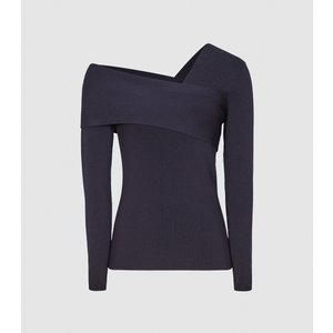 Reiss Eliah - Knitted Asymmetric Top In Navy, Womens, Size L Reiss55820930003, Navy