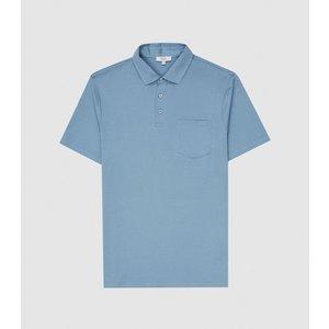 Reiss Elliot - Mercerised Egyptian Cotton Polo In Dark Sky, Mens, Size Xs Blue Reiss41703630000, Blue