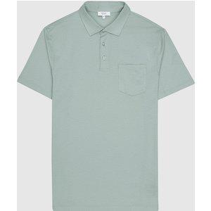 Reiss Elliot - Mercerised Egyptian Cotton Polo In Seafoam, Mens, Size Xl Blue Reiss41700253004, Blue