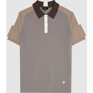 Reiss Elm - Performance Stretch Polo Shirt In Taupe, Mens, Size L Reiss51820916003, Taupe