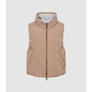Reiss Elodie - Padded Gilet In Camel, Womens, Size M Reiss65806613002, Camel