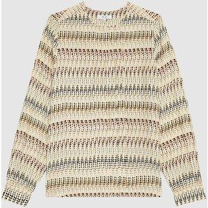 Reiss Eloise - Printed Blouse In Cream, Womens, Size 18 Reiss46621202018, Cream