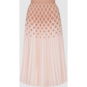 Reiss Elsa - Printed Knife-pleat Midi Skirt In Peach, Womens, Size 14 Pink Reiss28610672014, Pink