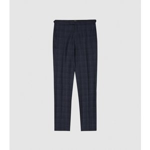 Reiss Eltham - Slim Fit Checked Trousers In Indigo, Mens, Size 36 Navy Blue Reiss21703845036, Navy Blue