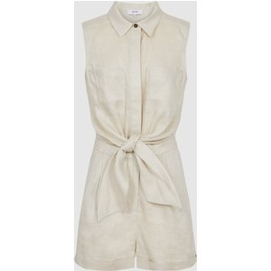 Reiss Ema - Linen Playsuit In Stone, Womens, Size 14 Reiss33605704014, Stone