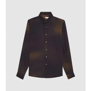 Reiss Ember - Ombre Printed Shirt In Bordeaux, Mens, Size S Purple And Brown Reiss32716064001, Purple and Brown