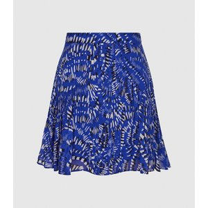 Reiss Emelia - Printed Mini Skirt In Blue Print, Womens, Size 6 Blue And Black Reiss28612637006, Blue and Black