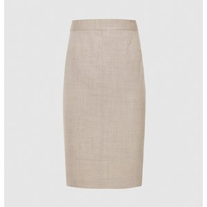 Reiss Emily - Tailored Pencil Skirt In Oatmeal, Womens, Size 4 Cream Reiss27803411004, Cream