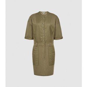Reiss Emlyn - Panel Detail Sweatshirt Dress In Khaki, Womens, Size 14 Green Reiss29845051014, Green