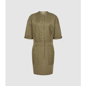 Reiss Emlyn - Panel Detail Sweatshirt Dress In Khaki, Womens, Size 12 Green Reiss29845051012, Green