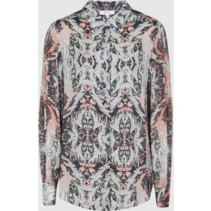 Reiss Emmy - Paisley Printed Shirt In Grey, Womens, Size 14 Reiss46715643014, Grey