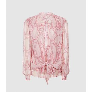 Reiss Erica - Snake Print Blouse In Pink, Womens, Size 18 Reiss46805566018, Pink