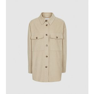 Reiss Esme - Relaxed Corduroy Overshirt In Neutral, Womens, Size 8 Reiss46822503008, Neutral