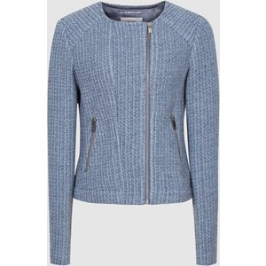 Reiss Essie - Cropped Boucle Jacket In Blue, Womens, Size 18 Reiss18807445018, Blue