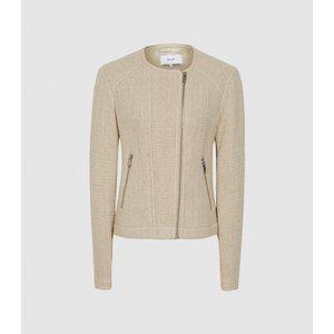 Reiss Essie - Cropped Boucle Jacket In Neutral, Womens, Size 10 Cream Reiss18808603010, Cream