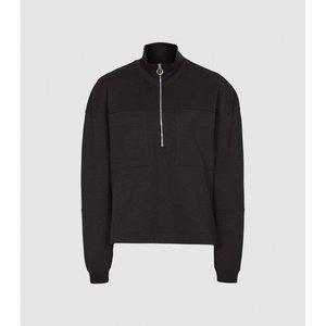 Reiss Etta - Zip Neck Loungewear Sweatshirt In Black, Womens, Size Xl Reiss45717020004, Black