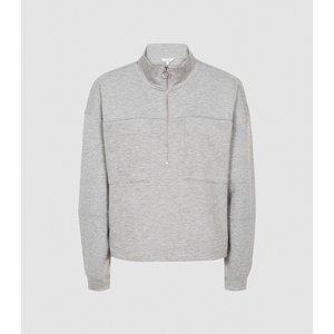 Reiss Etta - Zip Neck Loungewear Sweatshirt In Grey Marl, Womens, Size M Reiss86805243002, Grey Marl