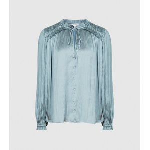 Reiss Everley - Pleat Detailed Blouse In Teal, Womens, Size 4 Green Reiss46712734004, Green