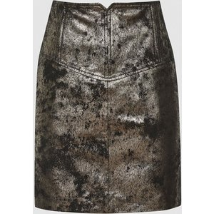 Reiss Fallon - Leather Mini Skirt In Silver, Womens, Size 8 Grey And Black Reiss28714023008, Grey and Black