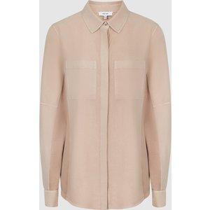 Reiss Felicia - Twin Pocket Shirt In Camel, Womens, Size 4 Reiss46822913004, Camel