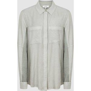 Reiss Felicia - Twin Pocket Shirt In Pale Green, Womens, Size 8 Reiss46822953008, Pale Green