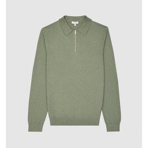 Reiss Fern - Cotton Zip Neck Polo Shirt In Khaki, Mens, Size S Reiss51813551001, Khaki