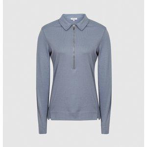 Reiss Fernanda - Zip Neck Polo Shirt In Blue, Womens, Size M Reiss45825645002, Blue