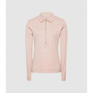 Reiss Fernanda - Zip Neck Polo Shirt In Blush, Womens, Size M Reiss45825667002, Blush