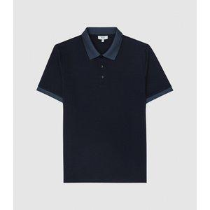 Reiss Filipo - Contrast Collar Polo Shirt In Navy, Mens, Size Xxl Navy Blue Reiss41703130005, Navy Blue