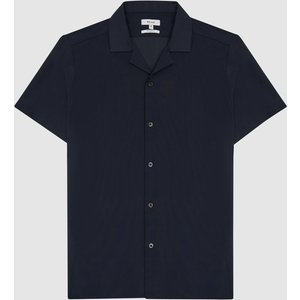 Reiss Finnis - Cuban Collar Shirt With Stretch In Navy, Mens, Size S Reiss32813430001, Navy