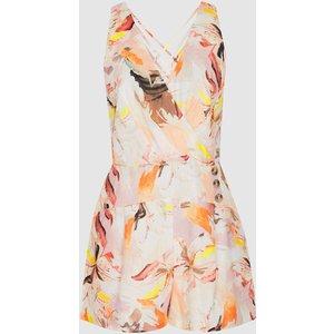 Reiss Floripa - Floral-print Linen Playsuit In Multi, Womens, Size 6 Reiss97608498006, Multi
