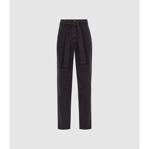 Reiss Flynn - High Rise Tapered Fit Jeans In Dark Grey, Womens, Size 32 Reiss20701021032, Grey