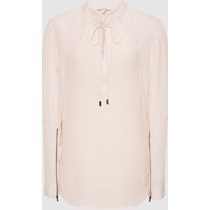 Reiss Frances - Zip Detail Blouse In Pink, Womens, Size 16 Reiss46807566016, Pink
