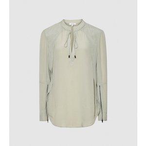 Reiss Frances - Zip Detail Blouse In Pistachio, Womens, Size 14 Reiss46807553014, Pistachio