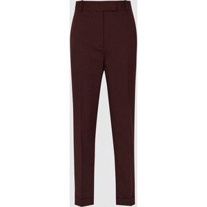Reiss Freya - Slim Fit Tailored Trousers In Berry, Womens, Size 18 Maroon Reiss25704566018, Maroon