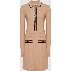 Reiss Gemima - Button Collar Knitted Dress In Neutral, Womens, Size Xs Beige Reiss29740003000, Beige