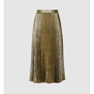 Reiss Gemma - Metallic Pleated Midi Skirt In Gold, Womens, Size 12 Reiss28614276012, Gold