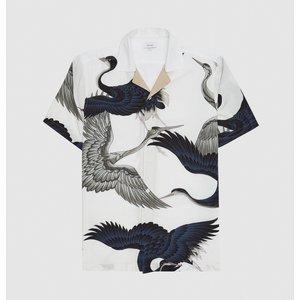 Reiss Gigi - Printed Cuban Collar Shirt In White, Mens, Size Xs Reiss32814300000, White